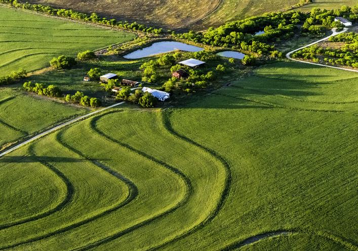 Rural Texas ranch and farmland near San Antonio, aerial view