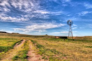 A windmill pumps water from a well in the Texas Panhandle plains