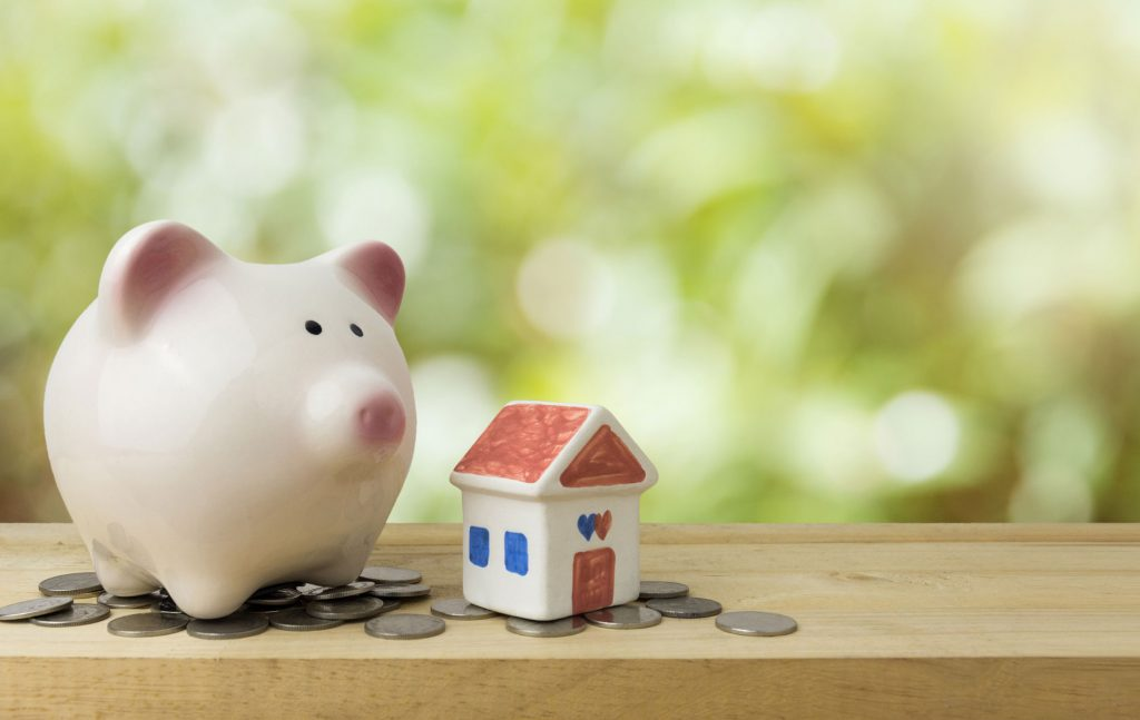 Piggy Bank Save Money for House Down Payment
